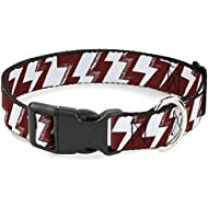 Buckle-Down Cat Collar Breakaway Lightning Bolts Sketch Red White 8 to 12 Inches 0.5 Inch Wide