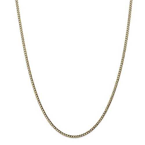 14k Yellow Gold 18in 2.50mm Lightweight Curb Link Necklace Chain (Jewelry Pot 14k Gold Chain)