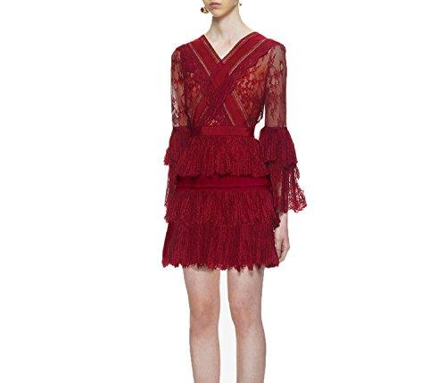 Summer-lavender Dress Lace Hollow Out Sexy high Waist Patchwork Lace Dress,Picture Color,M ()