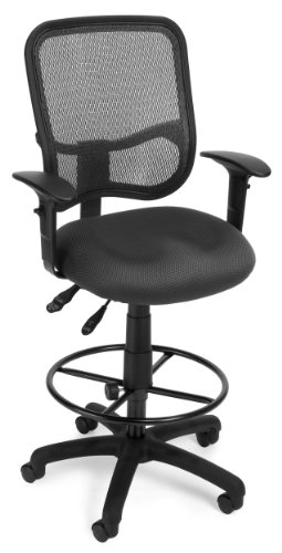 OFM Core Collection Comfort Series Ergonomic Mesh Swivel Task Chair with Arms and Drafting Kit, Mid Back, in Gray