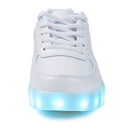 SAGUARO® 7 Farben LED Schuhe USB Aufladen Leuchtschuhe Licht Blinkschuhe Leuchtende Sport Sneaker Light Up Turnschuhe Damen Herren Kinder, Weiß 37