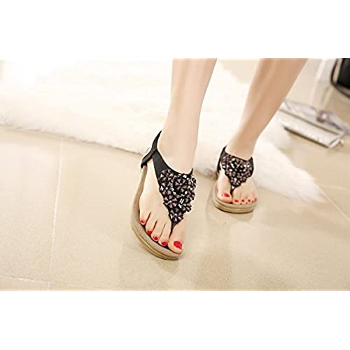 15e2843ff64c0 Meeshine Women s Summer Thong Flat Sandals T-Strap Bohemian Rhinestone Slip  On Flip Flops Shoes