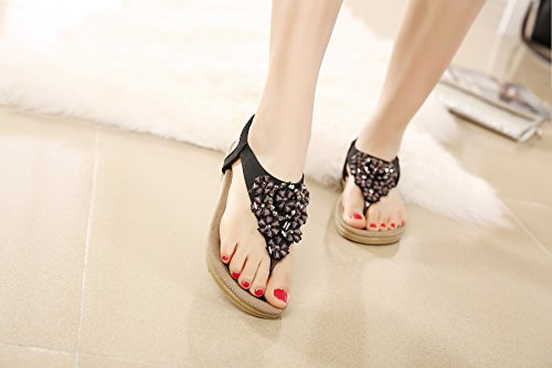 On Summer Rhinestone Flat Black Flops Shoes T Slip Flip Women's Strap Meeshine Thong Floral Bohemian Sandals TvqB588wx