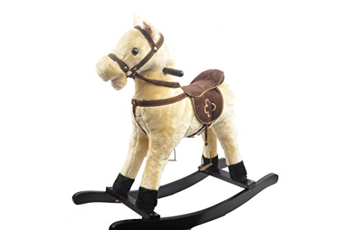 Linzy Plush 29 Quot Beige Rocking Horse W Galloping Sound