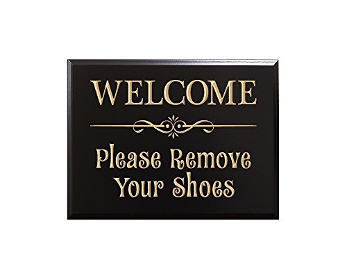 TimberCreekDesign WELCOME Please Remove Your Shoes Decorative Carved Wood Sign Quote, Black