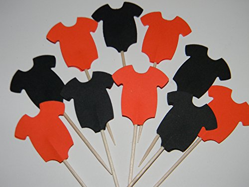 24 Black and Orange Halloween onesie cupcake toppers food picks baby shower decor]()