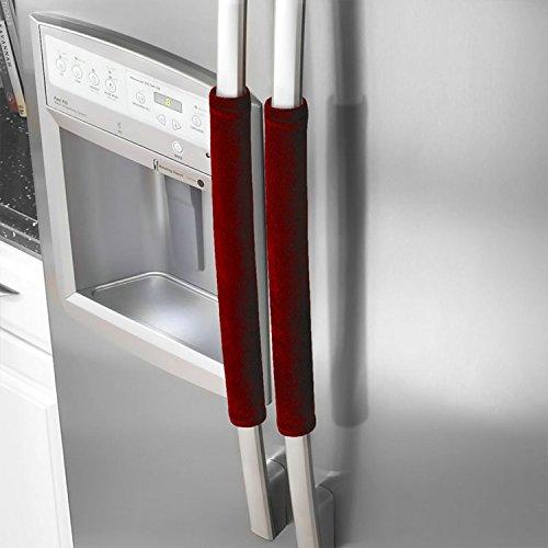 Refrigerator Door Handle Covers kitchen Appliances Antiskid Protector Gloves for Fridge Microwave Dishwasher Door Cloth Cover Protector Keep off Fingerprints,Liquid,Oil Stain,Food Spot (Burgundy)