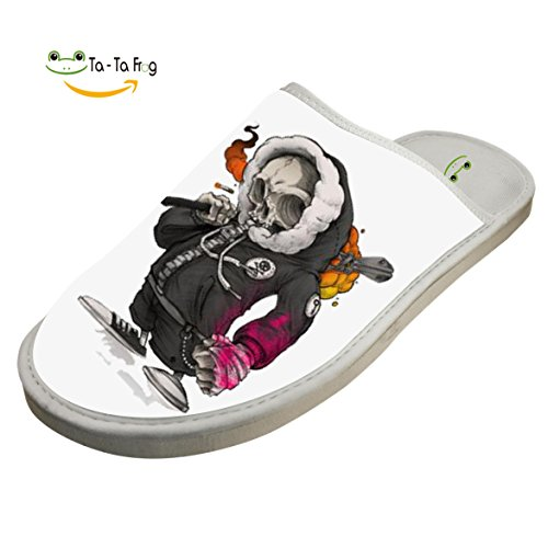Indoor Shoes Skull Player Cotton Flat White House Slippers Slippers Slippers Cool ZeZe CwfSq5z