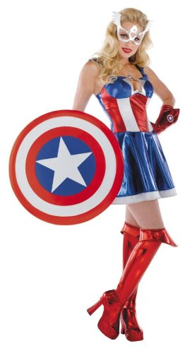 Captain America Deluxe Adult Gloves (CAPT AMERICA SASSY MD 8-10)