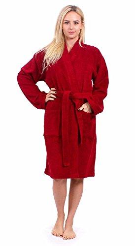(Turkuoise Women's Terry Cloth Robe Turkish Cotton Terry Kimono Collar (Small, Burgundy))