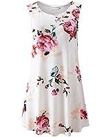 iGENJUN Women's Summer Sleeveless Swing Tunic Casual Floral Flare Tank Tops,DG7,L