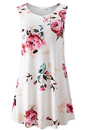 Tank Top Sleepwear Shirt - iGENJUN Women's Summer Sleeveless Swing Tunic Casual Floral Flare Tank Tops,DG7,L