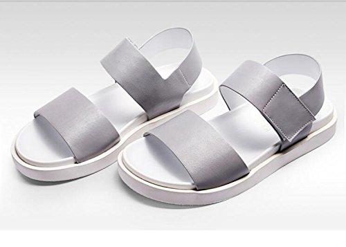 Happyshop(TM) Mens Cow Leather Thick Platform Sandals Leisure Breathable Antiskid Fashion Shoes Light Grey pc24qE