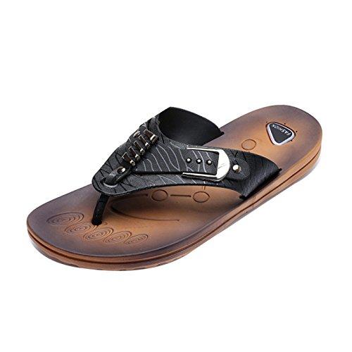 Gaorui Fashion Mens Sandali Pantofole Cool Flat Beach Casual Infradito Scarpe Nuovo Nero