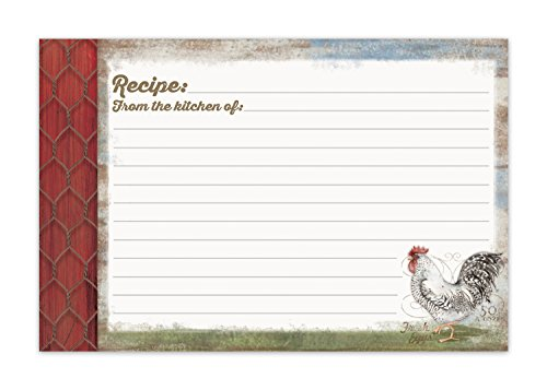 Brownlow Gifts Recipe Cards, Barnyard Rooster, Multicolor