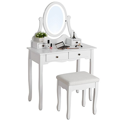 SONGMICS Vanity Table Set with Dimmable LED Lights and Mirror Makeup Dressing Table with 4 Drawers (2 Sets of Knobs) Cushioned Stool White URDT19W by SONGMICS