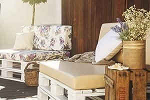 Conjunto colchoneta para sofas de palet Negro y respaldo Blanco (1 x Unidad) Cojin relleno con espuma. | Cojines para chill out, interior y exterior, ...