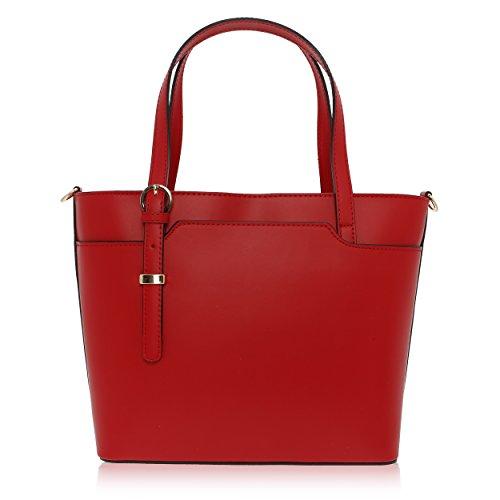 27 12 Femme Florence 37 in Made Main Sac Cuir à cm Véritable pour Rouge tPRwvA