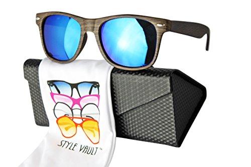W1000-ec Style Vault 80s wood pattern Sunglasses (S1982V Woody dark brown-blue mirror w/case)