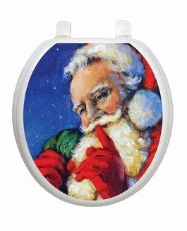 Secret Santa Christmas Toilet Tattoo TT-X613-R Round Winter Snow Holiday Reindeer Lena Fiore'
