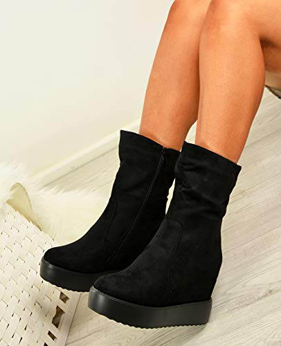 Cucu Ladies Ankle Zip Size Boots High Black Fashion Platform Shoes Wedge Womens Heels Top T5YxrwUYq