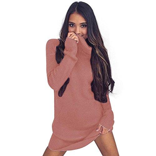 XUANOU Women Sweater Casual Warm Long Sleeve Turtleneck Long Style Sweaters Dress (X-large, Pink) (Pink Leopard Infant Costume)