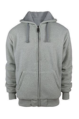 Tanbridge Heavyweight Sherpa Lined Plus Sizes Warm Fleece Full Zip Mens Hoodie with Padded Sleeve & Rib Cuffs