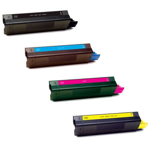 (Do It Wiser Compatible Toner Cartridge Set Replacement For Oki Okidata C7100, C7200, C7200N, C7300, C7400N, C7400DXN, C7500 - 41304205 41304206 41304207 41304208 - (Black Cyan Magenta Yellow - Yield 10,000 pages))