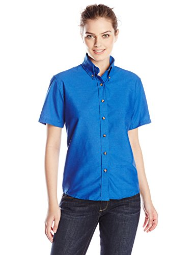 Red Short Ladies Kap - Red Kap Women's Plus Size Short Sleeve Poplin Dress Shirt, Royal Blue, 22