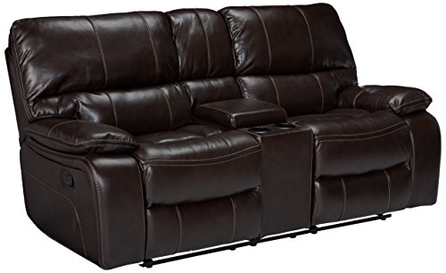 coaster willemse casual motion love seat with storage console, chocolate