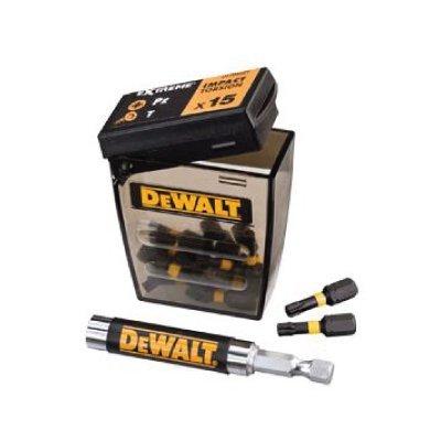 DEWALT DT70522T-QZ - Juego de 16 piezas de impacto para atornillar con guí a magné tica compacta. Puntas de atornillar de 25mm: Pz2 x 6, T15 x 3, T20 x 3, T25 x 3. Guí a magné tica compacta. T25 x 3. Guía magnética compacta.