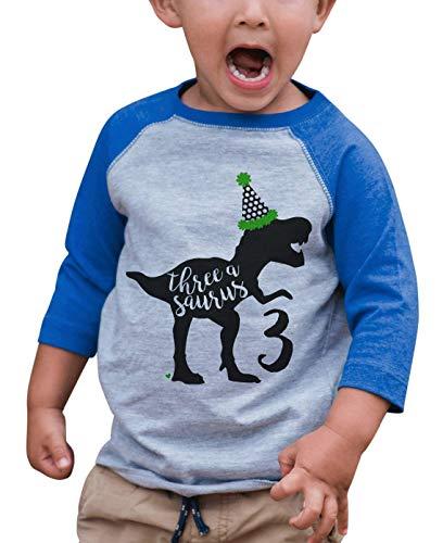 7 ate 9 Apparel Kid's Three Dinosaur Birthday Blue Raglan Tee 3T -