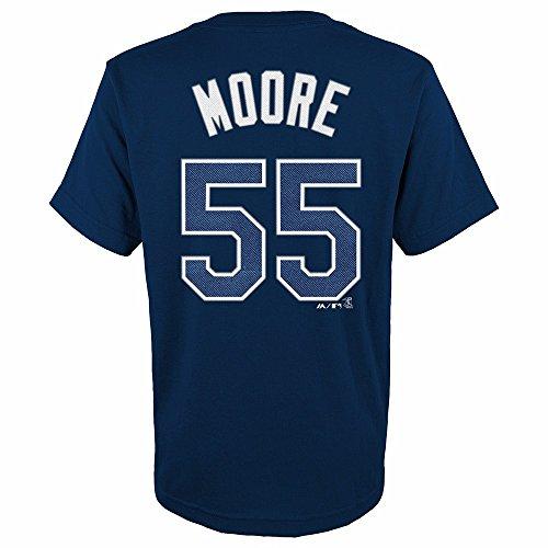Youth Navy Blue Player - Matt Moore Tampa Bay Rays MLB Majestic Youth's Navy Blue Player Name & Number Jersey T-Shirt (BOY14-16_L)