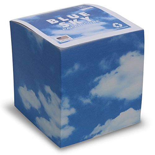 "EARTHCUBE 'Blue Sky' Blank White Pages Note Cube Not Sticky 3.5""x3.5"