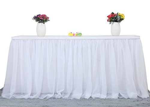 9ft White Table Skirt Tulle Tutu Table Skirt for Rectangle or Round Table Tulle Tableware Table Cloth for Party,Wedding,Birthday Party&Home Decoration,Table Skirting (L9(ft) H 30in, White) ()