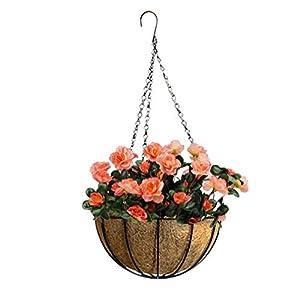 Mynse Set of Hanging Basket Artificial Azalea Flower Hanging Planter with ChainOutdoor Decoration 38