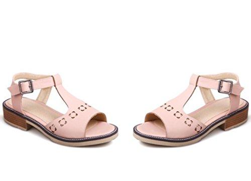 SHFANG Sandalias de las señoras verano simple ocio inferior plano sandalias de las mujeres cinturón de la hebilla del dedo del pie del rocío Pink