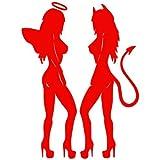 devil and angel girl sticker - Set of 3 - Sexy Angel and Devil Girls Decal Sticker Color: red, Peel and Stick Vinyl Sticker
