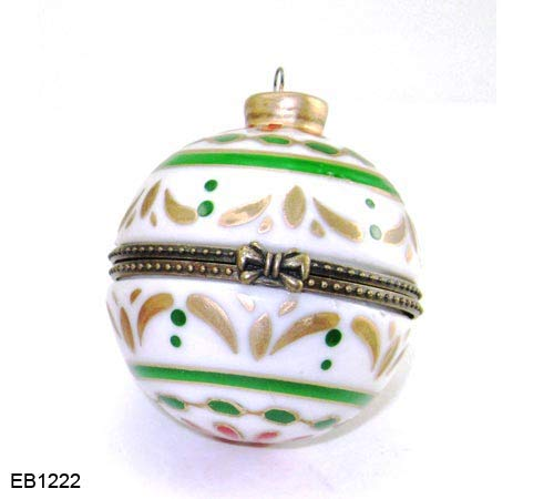 Art Gifts Christmas Holiday Ball Hanging Ornament Hinged Porcelain Trinket Box