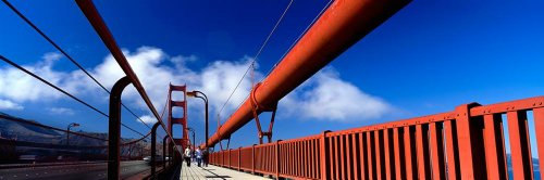 Walls 360 Peel & Stick Wall Murals: Tourist Walking On Golden Gate Bridge (84 in x 28 in)