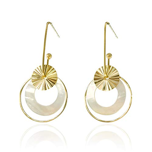 (BBL 14k Gold Plated Hoop Earring Two Tone Multilayer Dangle Earrings Shell Circle Long Drop Earrings Jewelry Handmade Wire Wind Imitation-Pearls CZ Statement Earrings for Women Girl)