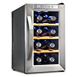 Ivation Premium Stainless Steel 8 Bottle Thermoelectric Wine Cooler/Chiller Counter Top Red & White Wine Cellar w/Digital Temperature, Freestanding Refrigerator Glass Door Quiet Operation Fridge