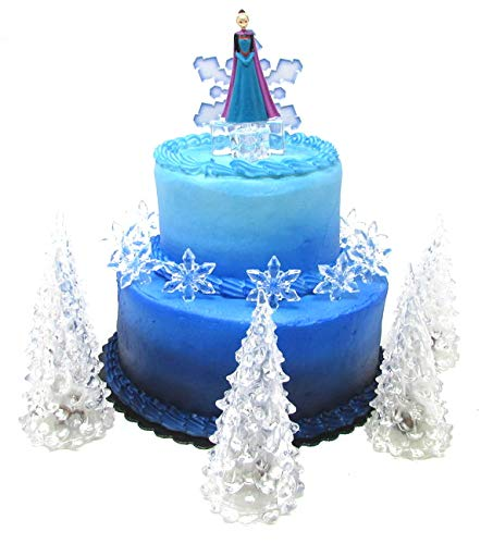 Frozen Queen Elsa Winter Wonderland Themed Birthday Cake Topper Set Featuring Elsa and Decorative Themed Accessories -