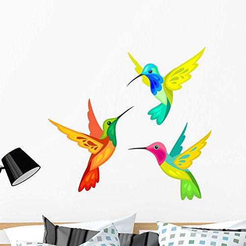 Wallmonkeys Stylized Hummingbirds Wall Decal Sticker Set Individual Peel and Stick Graphics on a (36 in W x 34 in H) Sticker Sheet WM369010