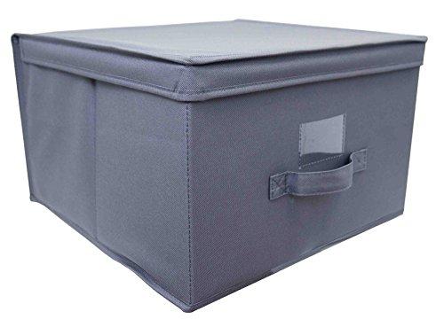 Home Basics cubeta de almacenamiento de organización de tela caja con tapa y asa, color gris (Jumbo)