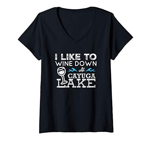 Womens Wine Down at Cayuga Lake Finger Lakes Wine Lover Lake Life V-Neck T-Shirt ()