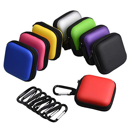 Meuxan 8-Pack 8 Colors Earbud Case Earphone Storage Carrying Pouch with Carabiner for Headphone USB Cable Flash Drive