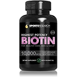 Biotin 10,000mcg Enhanced with Organic Coconut Oil for Better Absorption; Non-GMO & Gluten Free - 120 Mini Veggie Softgels; Made In USA. by Sports Research