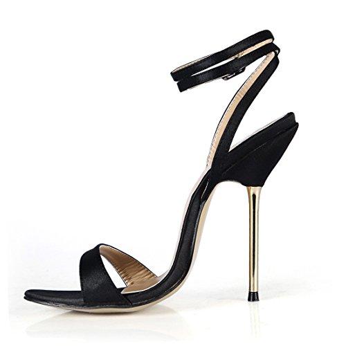 Moda Metallo satin Donna CHMILE da Sandali Partito Tacco Cinturino Scarpe CHAU a Tacco Alto Caviglia a Spillo Nero alla Sexy qqwPOC