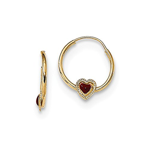 ICE CARATS 14kt Yellow Gold Red Enameled Heart Hoops Earring Hoop Fine Jewelry Ideal Gifts For Women Gift Set From Heart 14kt Gold Enameled Earrings